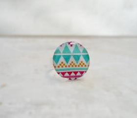 Aztec Geometric Ring, in White Turquoise Violet, Pure Color Jewelry
