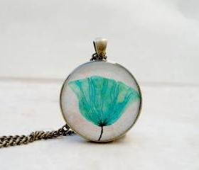 Turquoise Dandelion Necklace, Dandelion Pendant, Floral Nature