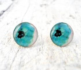 Ear Stud, Aqua Blue Turquoise Poppies Earrings ,Gift for Her