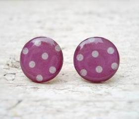Polka Dots earrings studs posts,Thulian pink Violet White, Christmas