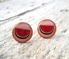 Watermelon earrings studs, Small ear posts, Gift For Her Under USD 15 20