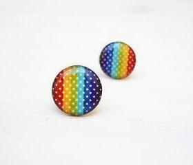 Polka Dots Rainbow earrings, Colourful earring studs, Gift for her