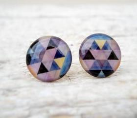 Triangle Earring Studs, Geometric Posts, Blue Grey Gray Black, Modern Jewelry