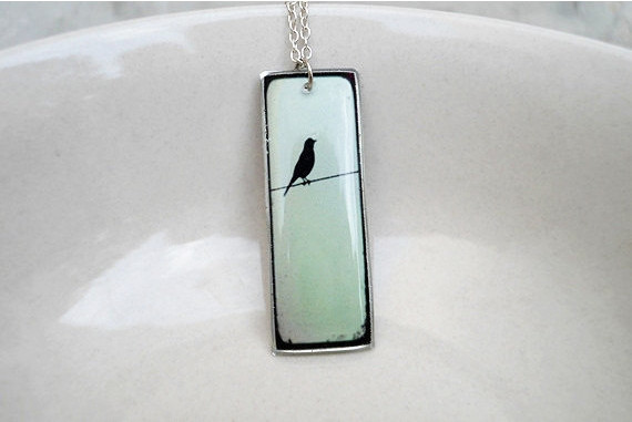 Bird Necklace Pendant in Mint and Black, Silhouette Pendant