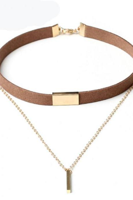 Black and Brown Velvet Choker Necklaces Jewelry For Women Gold-Color Statement Necklaces Collares Hot