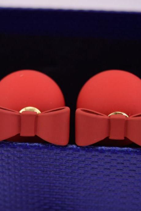Red Summer Style Double Sided Pear Bow Stud Earring Birthday Gift Kawaii Jewelry