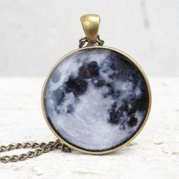 Full Moon Necklace Space Pendant, Glass Photo Jewelry